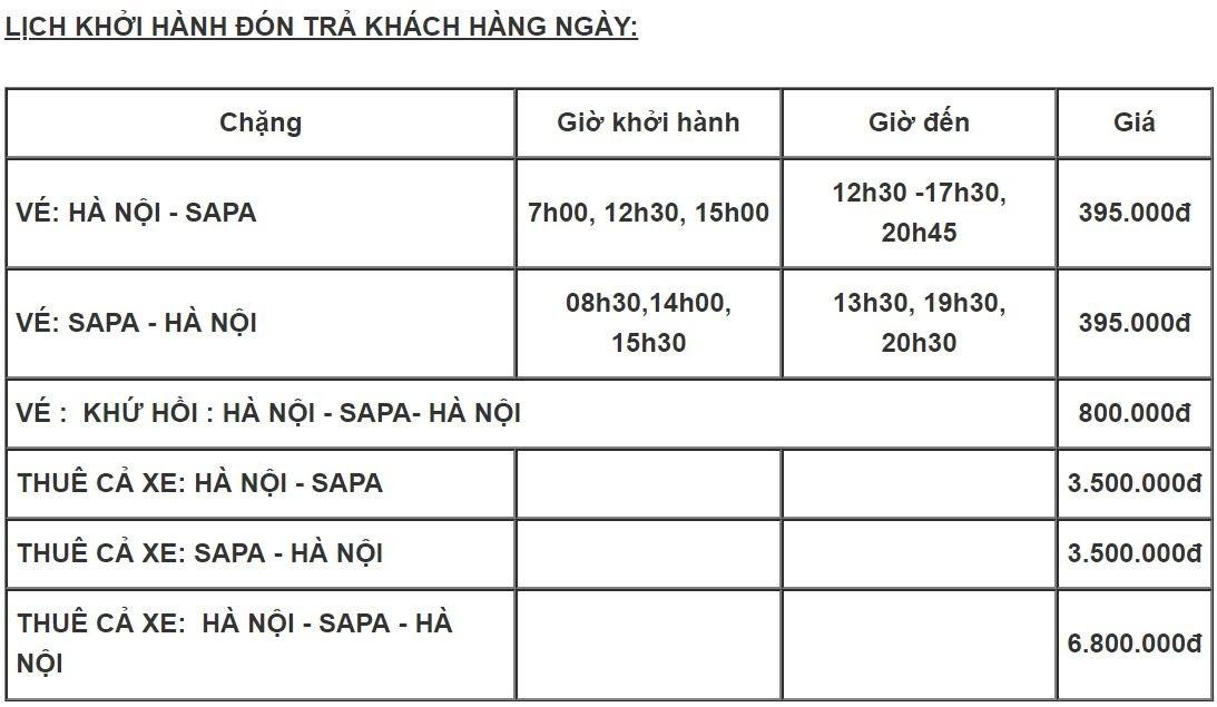Mách bạn vé xe Limousine Hà Nội đi Sapa bao nhiêu?